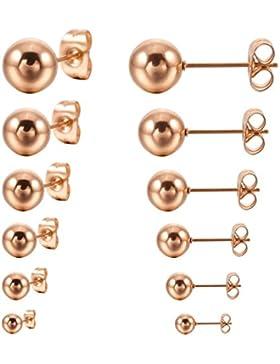 MunkiMix 3~8mm 12 PCS Edelstahl Gestüt Stecker Ohrringe Ohrstecker Ohrhänger Kugel Perle Perlen Kugel Set ( 6...