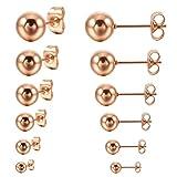MunkiMix 3~8mm 12 PCS Edelstahl Gestüt Stecker Ohrringe Ohrstecker Ohrhänger Rosé Gold Ton Kugel Kugel Perle Perlen Set (6 Paar) Herren,Damen