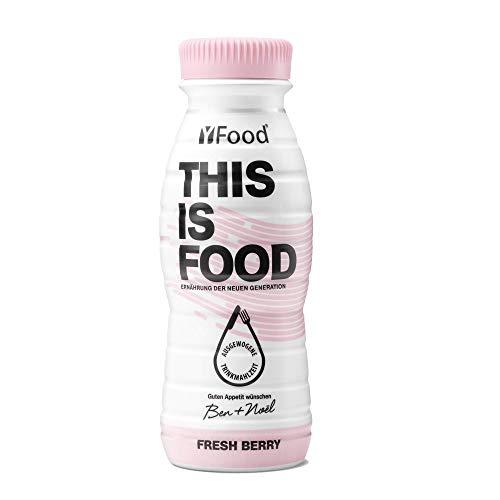 YFood Beere | Laktose- und glutenfreier Nahrungsersatz | 22g Protein, 26 Vitamine und Mineralstoffe | Leckere Astronautennahrung - 17% des Kalorienbedarfs | Trinkmahlzeit, 8 x 330 ml (1 kcal/ml)