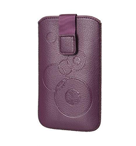 Handytasche Circle u.a. für Nokia 100, Nokia 106, Nokia 108 Dual Sim, Nokia 112 Tasche Schutz Hülle Slim Case Cover Etui violett mit Klettverschluss