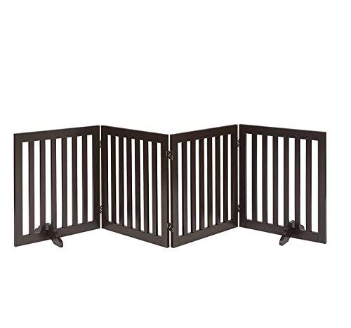 UniPaws Altezza 61cm libera passo sopra cane cancello w/supporto piedi (Espresso) | Fino a 203cm largo | Assemblea-libero 51cm Wx61cm H/4Panels espresso