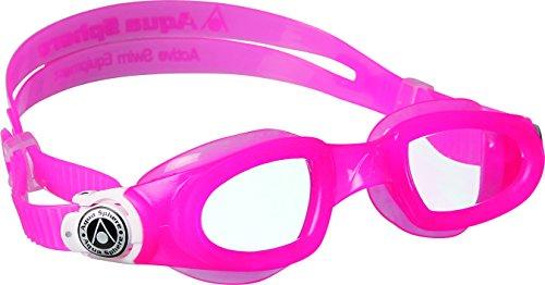 Aqua Sphere Unisex Jugend Moby Kid Schwimmbrille, Klare Gläser-Pink/Weiß, One Size -