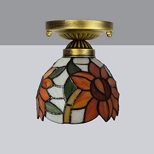 6 Tiffany Deckenleuchte (GAOYUN 6 Zoll Deckenleuchte Tiffany Glasmalerei Deckenleuchte Gang Korridor Balkon Kleine Deckenleuchte Sun Flower Art Lampe)