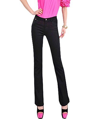 DELEY Donne Signora Elastico Vintage Elegante Slim Fit Sottili Jeans Push Up Larghi Gamba Pantaloni Lunghi Sigaretta Casual Ufficio Stile Pants Nero