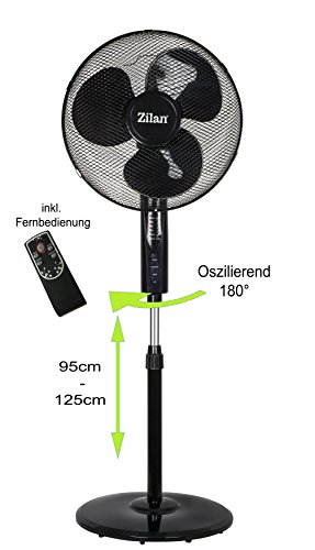 Standventilator 50 Watt Ø41cm mit Fernbedienung | Ventilator | Windmaschine | Klimagerät | Bodenventilator | Luftkühler | 4 Stunden Abschaltautomatik | Timer | Nachtmodus | leiser Betrieb | LED-Display | (Schwarz mit Fernbedienung)