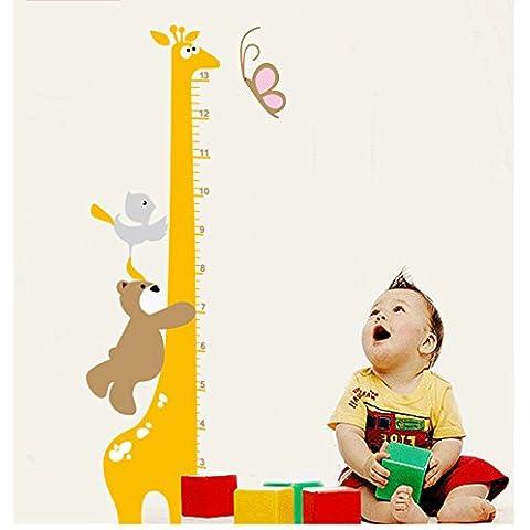 wallartmeet giallo giraffa altezza Tabella sticker da