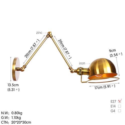 Swing Long Arm Wandleuchte Schlafzimmer Treppenlicht Nordic Loft Style White Retro Wandleuchten Golden1 4W -