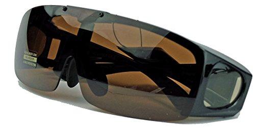 Polarisierte fitover Sonnenbrille NEU klappbare Gläser Überbrille für Brillenträger (Schwarz / Braun)
