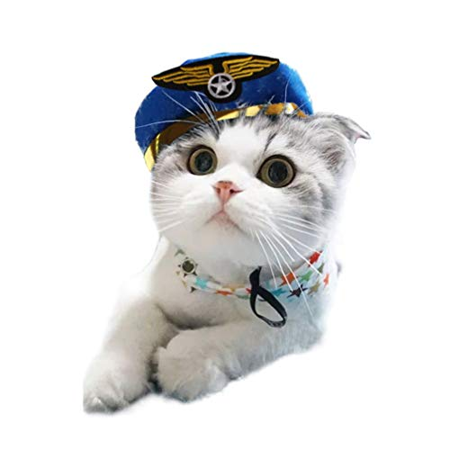 POPETPOP lustiges Haustier Halloween blau Pilot Cosplay Hut - cool Hund Katze Caps Cosplay Dekor - kreative Haustiere Party Kopfbedeckung Dekoration - Halloween Kostüm Pflege Zubehör
