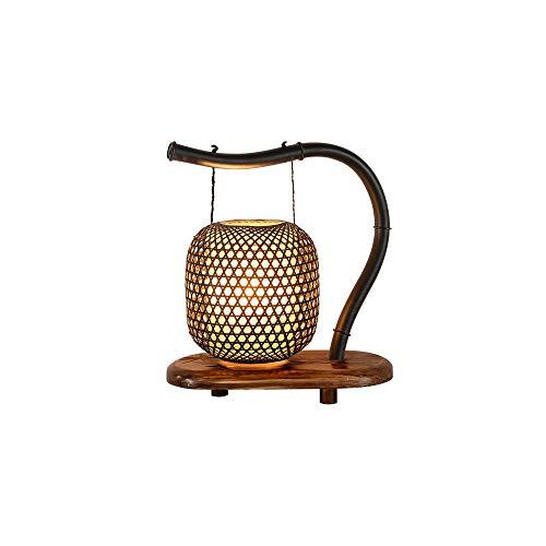 Lampe de Table Creative Bamboo Classic Lampe Zen Japonaise, Lampe de Chevet en Bois pour Le Salon Chambre à Coucher, Lampe de Bureau Chinoise pour étude rétro (Taille : 28cm*16cm*29cm)
