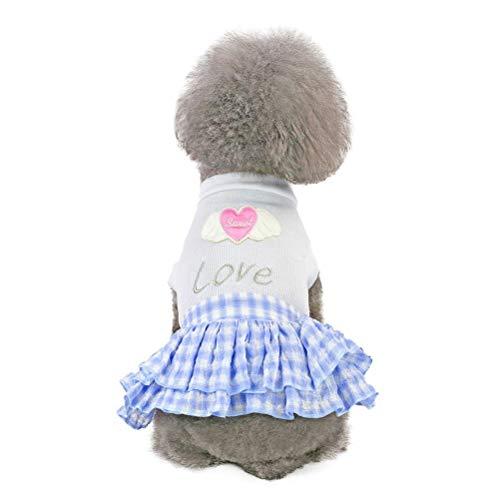 KoojawindBaumwolle Lässige Pet Kleid Frühling Und Sommer Liebe Herz Print Rock Hundekostüme Hund Kleidung Mit Plaid Spitze -