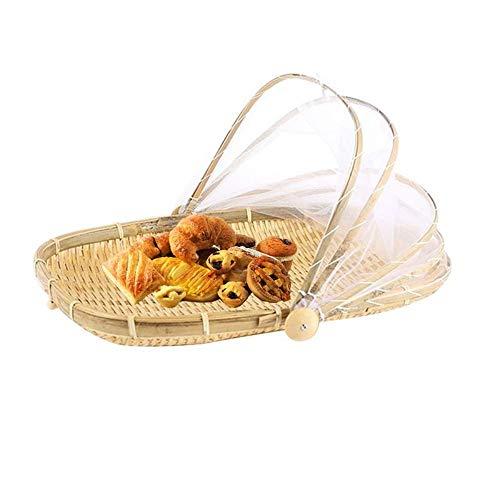 Handgefertigt Bambus Gewebt Korb Staubdicht Picknick Obst Lebensmittel Brot Gerichte Decken Mit Gaze, A -