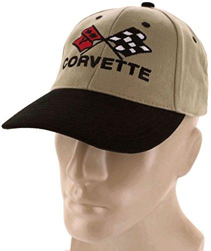 dantegts Corvette C4Flaggen schwarz khaki Baseball Cap Trucker Hat Snapback Flaggen Logo (C4 Corvette Hat)