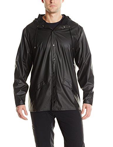 RAINS Herren Regenmantel, Jacket , Gr. Medium (Herstellergröße: S/M), Schwarz - Schwarz