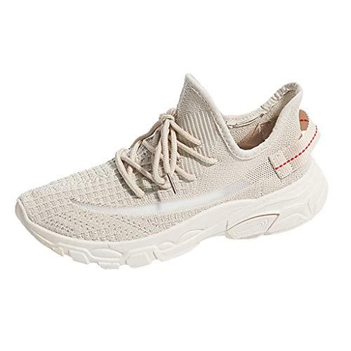 Damen Sneakers Bequem Schnürer Laufschuhe Gym Freizeitschuhe Fitness Mesh Atmungsaktives Turnschuhe Freizeitschuhe Ultra-Light Sportschuhe Laufschuhe (EU:39, Beige) -