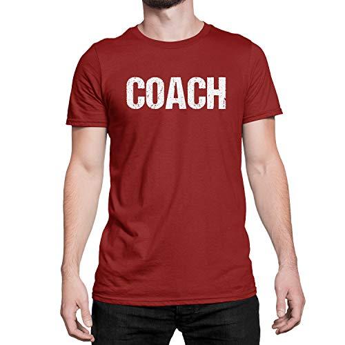 Coach T-Shirt Herren Sport Team Coaching T-Shirt Siebdruck - Rot - XX-Large