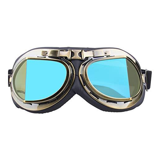 Liuzecai Polarisierte Sport-Sonnenbrille Vintage Harley Goggles Motorrad Langlauf-Windschutzbrille (Farbe : C)