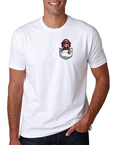 Mario in Your Pocket Funny T-shirt for Men, white