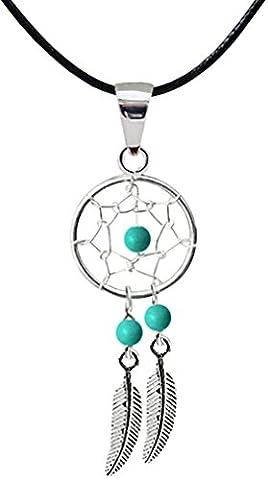 Dream Catcher Pendentif - Véritables pierres turquoises - Magnifique dessin et fini à la main à une haute finition joaillerie.Vient avec un collier en cordon de soie , réglable de taille 16 à 18,5 pouces. Emballé dans une jolie