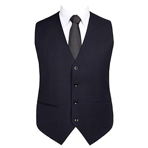 Highdas Herren Weste Solid Color Anzug Weste Blau
