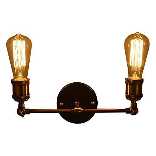 Vintage Wandleuchte, Frideko Retro Industrie Rohr Wandlampe mit 2 Flammige für Loft Bar Cafeteria Pub