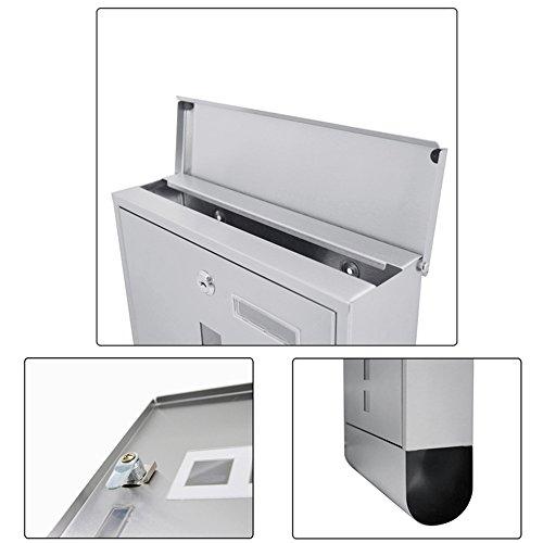 SAILUN® Edelstahl-Briefkasten mit Zeitungsrolle Aufklappbarem Regendach Postkasten mit Zeitungsfach (Silber, B Type) - 6