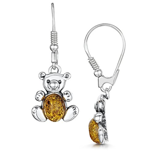 41 qD0ofdrL UK BEST BUY #1Amberta 925 Sterling Silver with Baltic Amber   Leverback Drop Teddy Bear Earrings   Honey Colour price Reviews uk