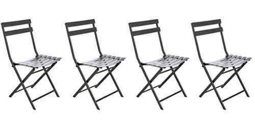 Lot de 4 chaises pliantes coloris graphite - Dim: 52 x 42 x 80 cm -PEGANE-