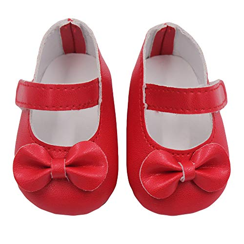 US 18-Zoll-Puppe Schuhe und Bunte Bogen Schuhe (ohne Puppen) rot, Malloom Glitter Doll Shoes Bow Dress Schuhe für 18 Zoll Unsere Generation for American Girl ()