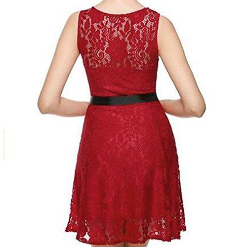 YaoDgFa Damen Kleider Spitzenkleid Minikleid Festliches Partykleid Cocktailkleid Brautjungfernkleid Kleid Casual Basic A-Linie Sommer Hochzeit Sommer Rot
