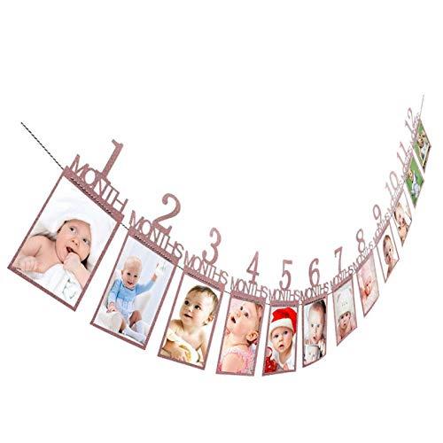 12 Monate Baby Foto Rahmen Girlande Bilder Bunting Banner, Dekoration Geschenk für erste Geburtstag Taufe Erstkommunion Babyparty Babyshower Babydusche Kinder Party