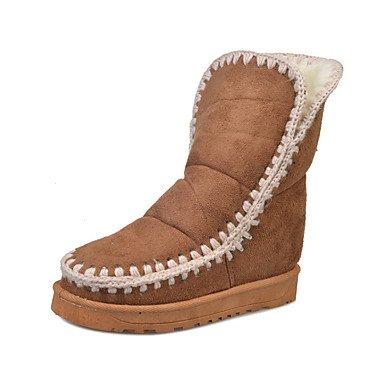 RTRY Scarpe Da Donna In Pelle Nubuck Autunno Inverno Lanugine Fodera Comfort Novità Snow Boots Fashion Stivali Stivali Tacco Piatto Round Toe Stivaletti/Caviglia US6 / EU36 / UK4 / CN36