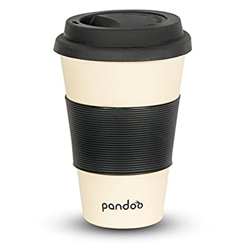 pandoo ♻ Bambus Coffee-to-Go-Becher | Kaffee-Becher, Trink-Becher, Bamboo-Cup | ökologisch abbaubar, recyclebar, umweltfreundlich | lebensmittelecht, spülmaschinengeeignet (Weiß)