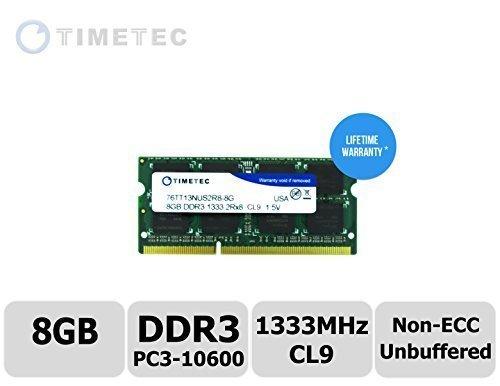 Timetec® (P/N 76tt13nus2r8–8G) Dual Rank 1333Mhz DDR3(PC3–10600) Non-ECC ungepuffert CL9204PIN SODIMM 2RX8512X...