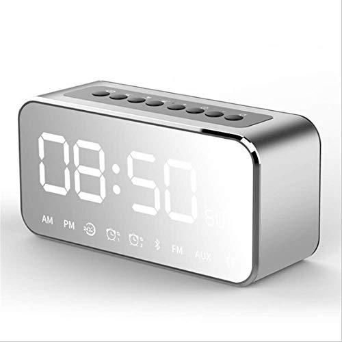 LDQLSQ Tragbarer Lautsprecher Bluetooth-Box Freisprechen Wasserdicht Uhr Spiegel Handy Wireless Subwoofer Outdoor Mini Wecker Small Sound,Silver (Akustik-wireless-lautsprecher)