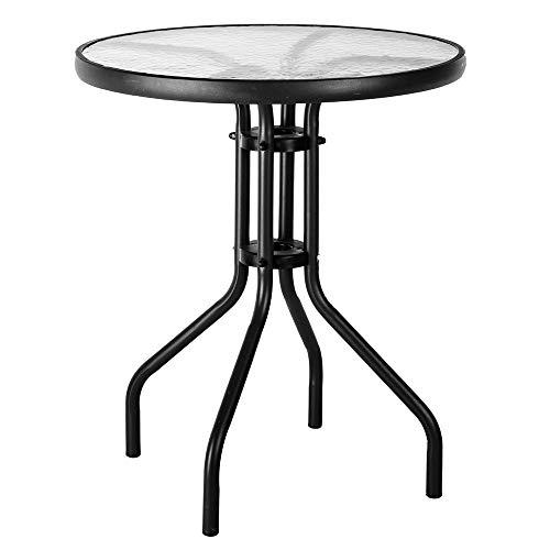 Mesa de jardín auxiliar de cristal y hierro negro