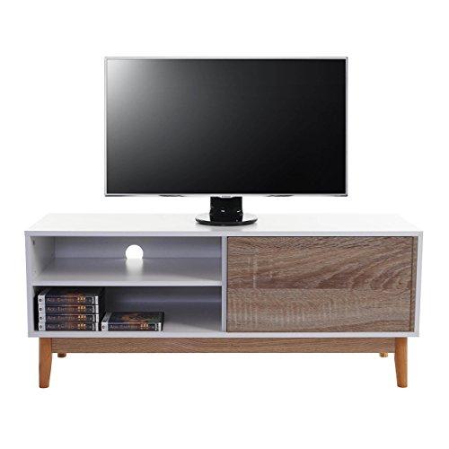 Serie Malmoe tavolino porta TV comodino con cassetto truciolato 40x120x50cm ~ quercia