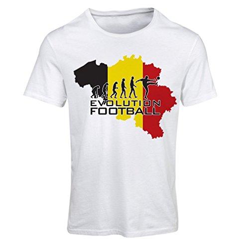 Frauen T-Shirt Evolution Fußball - Belgien, Die belgische Flagge (Small Weiß Mehrfarben)