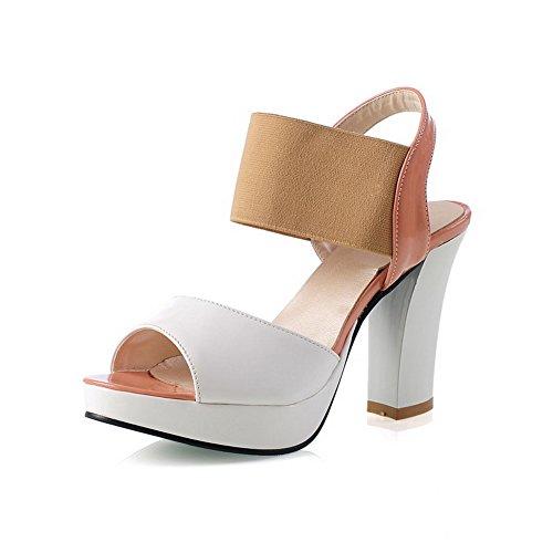 VogueZone009 Donna Colore Assortito Tacco Alto Punta Aperta Elastico Heeled-Sandals Albicocca