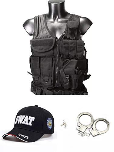 thematys S.W.A.T. Set 3 teilig - SWAT Kappe, Weste und Handschellen perfekt für Karneval, Halloween & Cosplay