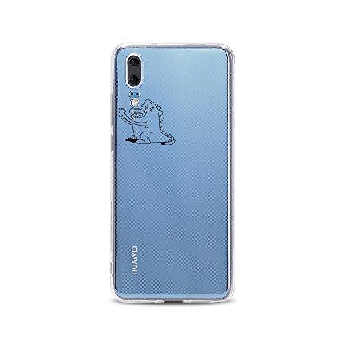 licaso Huawei P20 Handyhülle Smartphone Huawei Case aus TPU mit Kleines Monster isst Print Motiv Slim Design Transparent Cover Schutz Hülle Protector Soft Aufdruck Lustig Funny Druck