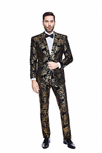 GOMY Herren Blumendruck Anzug Casual Blazer Anzug Kostüm (Person Kostüme Lustige 2)