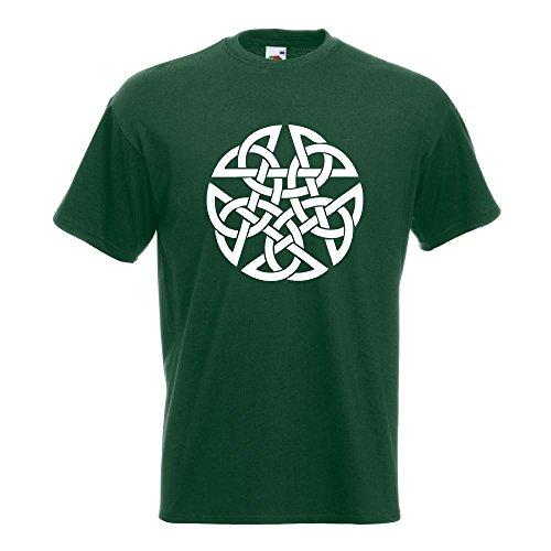 KIWISTAR - Celtic PentagramPentacle Druids T-Shirt in 15 verschiedenen Farben - Herren Funshirt bedruckt Design Sprüche Spruch Motive Oberteil Baumwolle Print Größe S M L XL XXL Flaschengruen