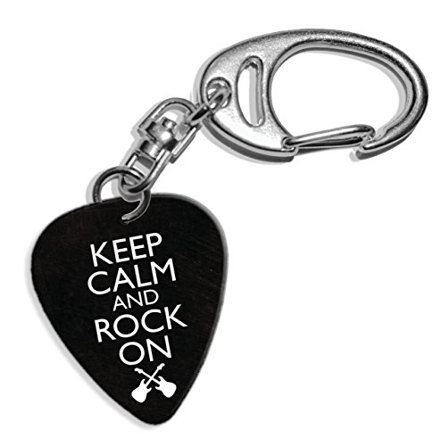Preisvergleich Produktbild Keep Calm And Rock On Logo Gitarre Plektrum Pick Schlusselanhanger Keyring (GD)