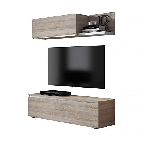 Tousmesmeubles Composition TV Chêne Clair/Bois Blanc - Camelia n°2 - L 150 x l 45 x H 170 - Neuf