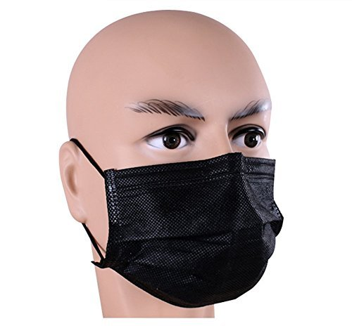 1 Box(50pcs) Breathable Anti Dust Disposable 4 Layer Non-woven Earloop Mask with Independent Packing Medical Surgical Face Mouth Mask (Black) by erioctry