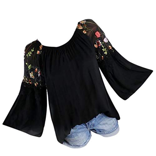 URSING Damen Bluse Blumendruck Stickerei Spitze Langarmshirts mit Trompetenärmeln Frauen Ethnischen Stil T-Shirt Schöne Oberteile Große Größe Shirtbluse Damenbluse Spitzenbluse (Schwarz,S)