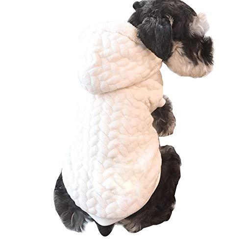 LVRXJP12 Tierkleidung Herbst- und Winterkleidung Plus Kaschmir Warm halten Jacke Kapuzenweste Reinweiß Hund Universaldekoration, s