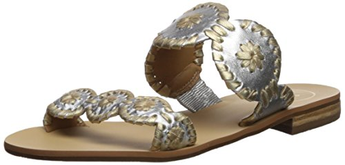 Jack Rogers Women's Lauren Slide Sandal, Silver/Gold, for sale  Delivered anywhere in UK