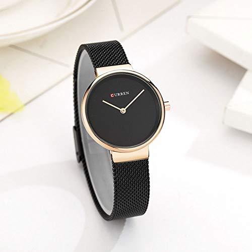 Bainuojia Damen-Uhr mit Milanaise-Armband Marmor-Zifferblatt (Black) - Fossil Marmor